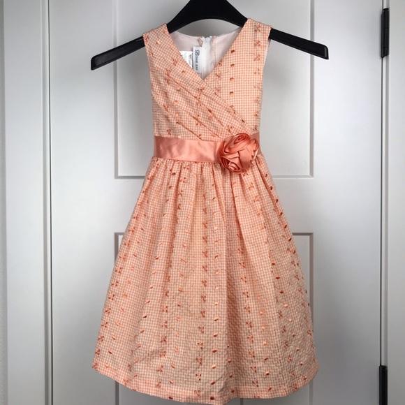 Bonnie Jean Black and White Herringbone with Floral Print Dress and Coat Set